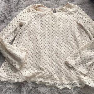 Girls Cream blouse size xl